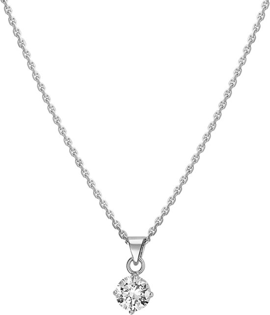 The Jewelry Collection Ketting Zirkonia - Dames - Zilver - 45 cm