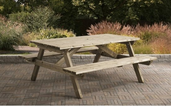 Van Talen - Picknicktafel 6-8 personen - Vuren - 160 x 180 cm - 35 mm