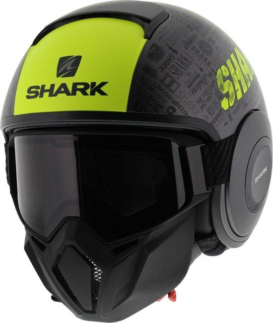 Shark Street Drak Tribute Rm Ayk Mat Antraciet Geel Zwart Jethelm - Motorhelm - Maat L