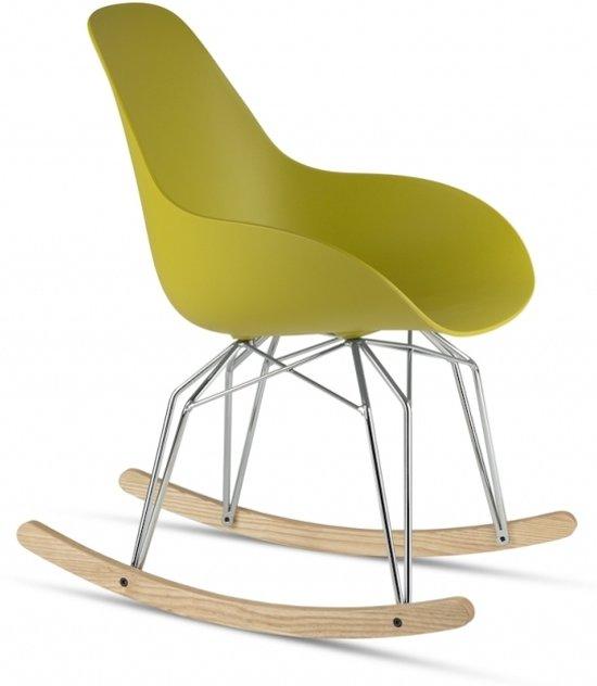 Kubikoff Diamond Dimple Rocking Chair - Mosterdgeel - Chroom onderstel