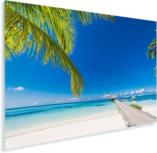 Lange steiger met de parelwitte stranden op Bora Bora Plexiglas 30x20 cm - klein - Foto print op Glas (Plexiglas wanddecoratie)