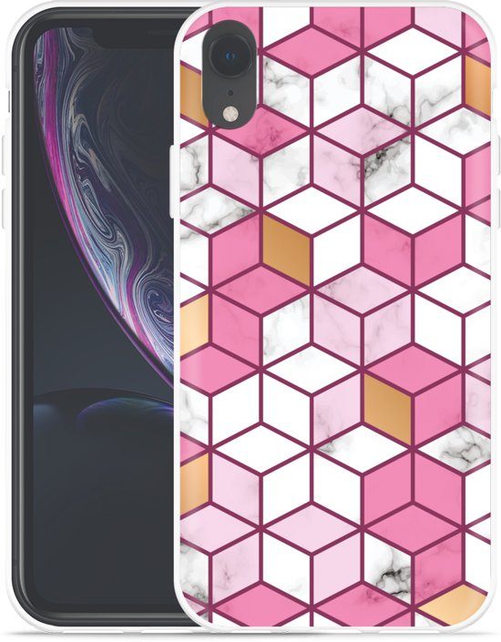 Apple iPhone Xr Hoesje Pink-gold-white Marble