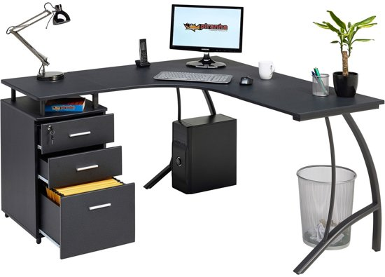 Piranha REGAL Hoekbureau - Antraciet - Zwart - Omkeerbaar- Laden - PC 28g