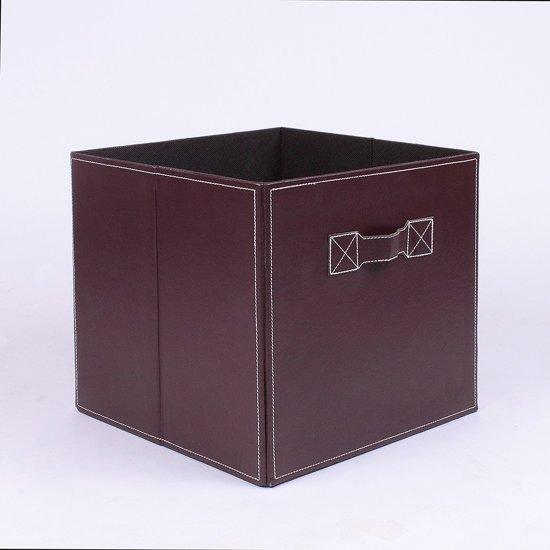 Opberbox - opbergdoos in lederlook - 28x28x27cm