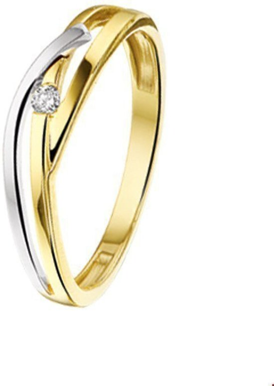 Bicolor Gouden Ring diamant 0.03ct H SI 4207395 17.50 mm (55)