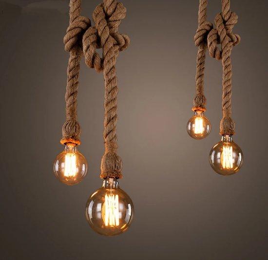 Hanglamp Met Touw.Hanglamp Touw Met Fitting 1 M Zwarte Plafondplaat Touwlamp Industrieel Stoer Scheepstouw