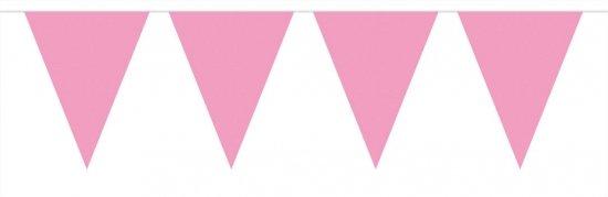 Vlaggenlijn XL licht roze 10 meter - slinger / geboorte / babyshower