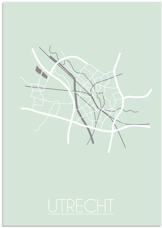 Plattegrond Utrecht Stadskaart poster DesignClaud - Pastel Groen - A3 poster