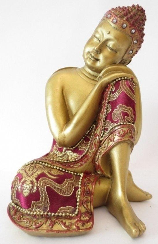 Beeldje slapende Boeddha rood/goud 19 cm