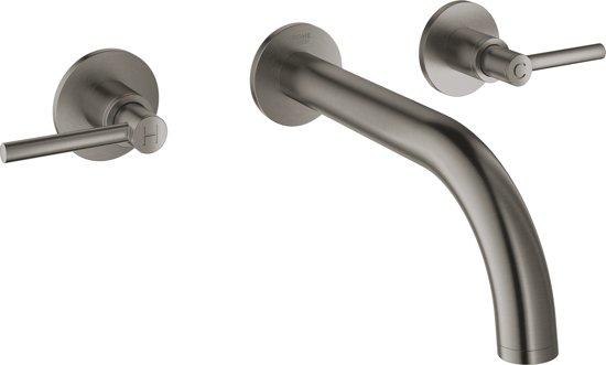 GROHE Atrio tweegats wastafelkraan - Inbouw - Korte uitloop - Exclusief inbouwkraan - Hard graphite geborsteld (mat antraciet)
