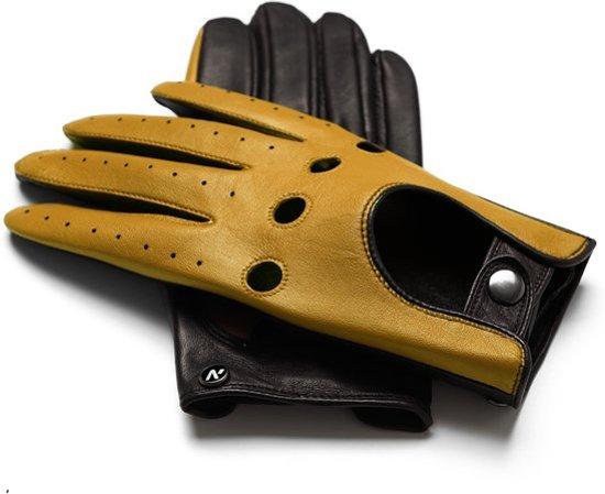 NapoDRIVE Echt lederen touchscreen handschoenen | Geel | maat XL