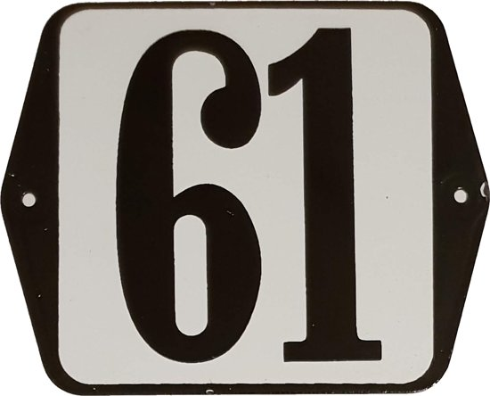 Emaille huisnummer oor - 61