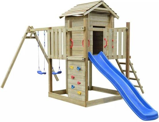 Vidaxl speeltoestel hout met trap glijbaan en schommels 557 x 280 x 271 cm - Trap ijzer smeden en hout ...