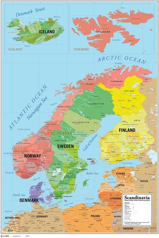 Scandinavië-landkaart-kaart-poster-61x91.5cm.