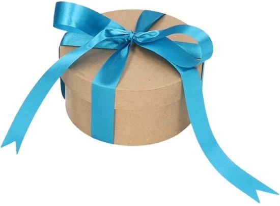 Rond cadeaudoosje 14,5 cm met blauwe strik