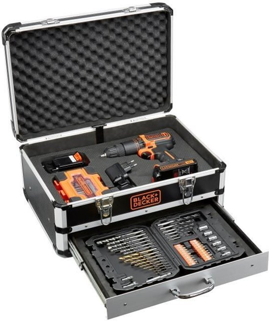 BLACK+DECKER 18V Accuschroef-/klopboormachine BDC718AS2F – met flightcase en 80 accessoires