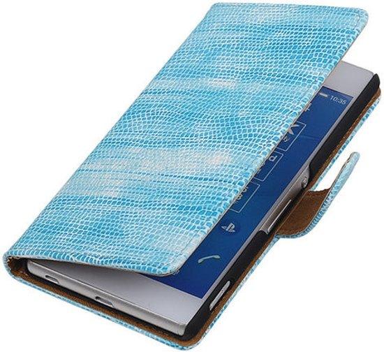 Sony Xperia M4 Aqua - Glamour Design Blauw Hoesje - Book Case Wallet Cover Beschermhoes in Boornbergum / Boarnburgum