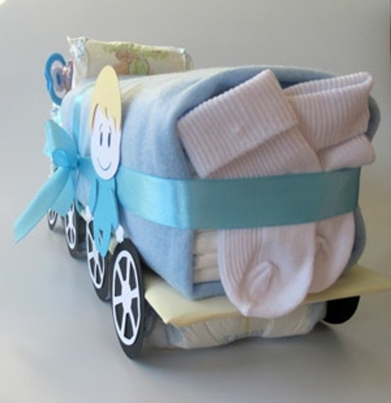 Luiertaart Vrachtwagen Blauw | Kraamcadeau | Kraampakket | Baby Cadeau