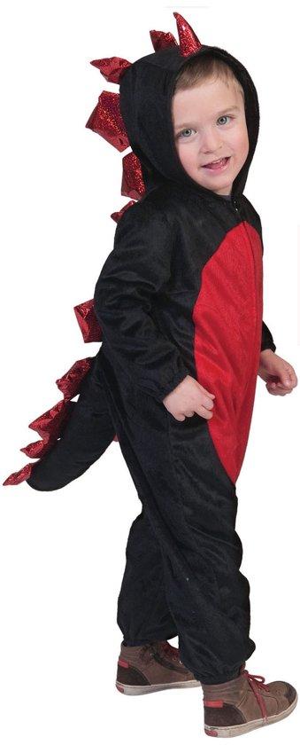Draak Kostuum | Poezelige Rood-Zwarte Draak | Jongen | Maat 116 | Halloween | Verkleedkleding