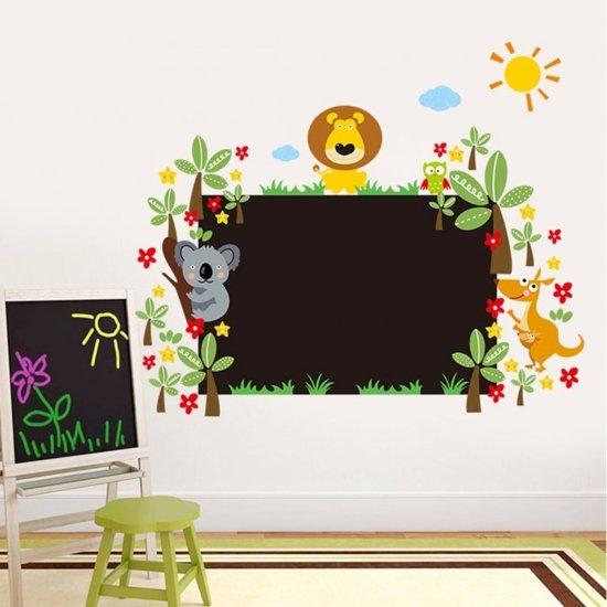 Jungle Decoratie Kinderkamer.Bol Com Muursticker Krijtbord Jungle Dieren Creatief Kinderkamer
