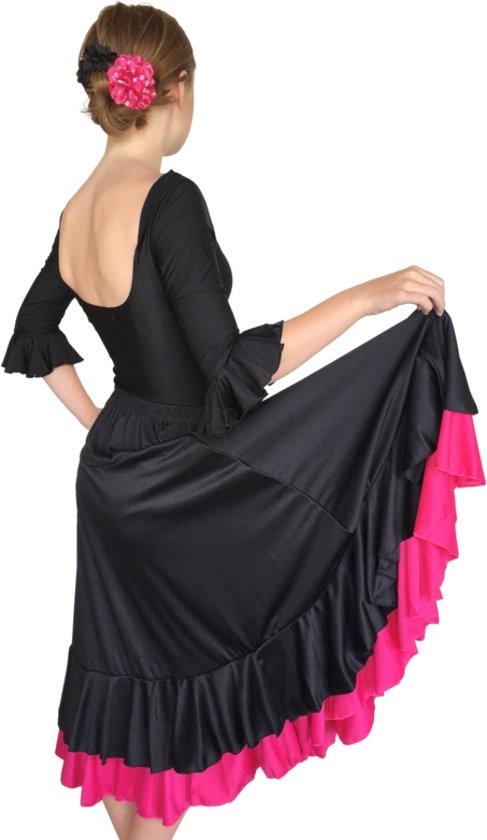 Spaanse Flamenco Rok - zwart met roze rand voor meisjes - Maat 6 - kledingmaat 104-110
