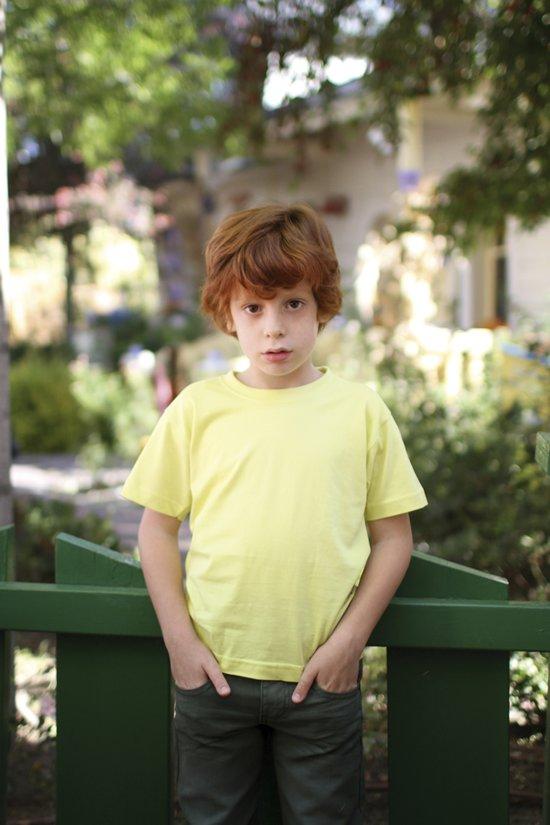 JHK Kinder t-shirt in light yellow maat 3-4 jaar (104) - set van 5 stuks