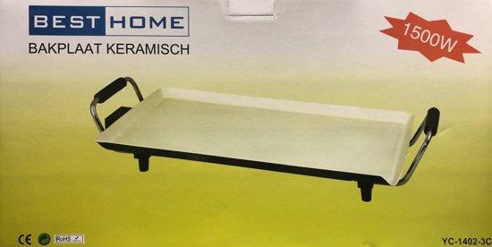 BestHome 1500W keramische bakplaat 46 x 26 cm