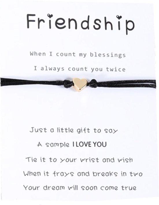 Mannies vriendschapsarmband / wens armband- 2 stuks - Vriendschaps armband met boodschap! Één voor jou, één voor je vriend(in) - Gratis verzending - Vriendschap – Hartje - Zwart