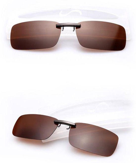7e974d47bf1bdf clip on voorzet zonnebril (donkerbruin)