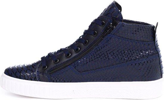 Heren Snake Blauw Print Met Sneakers Halfhoog Van Kleur Manzotti HgwqF8Hr