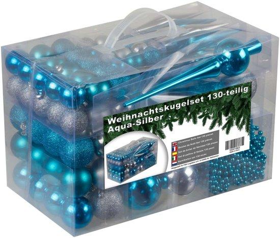 Kerstballen set - 130 ballen en piek en parelsnoer - Plastic / Kunststof - Blauw/Zilver - geschikt voor binnengebruik en buitengebruik