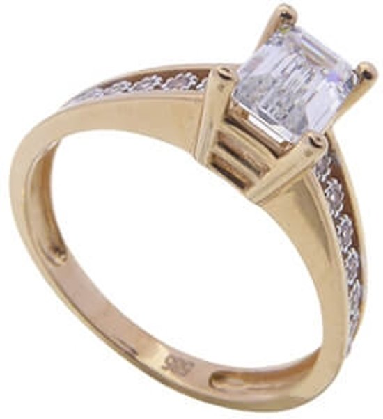 Rosé gouden ring met Swarovski zirconia