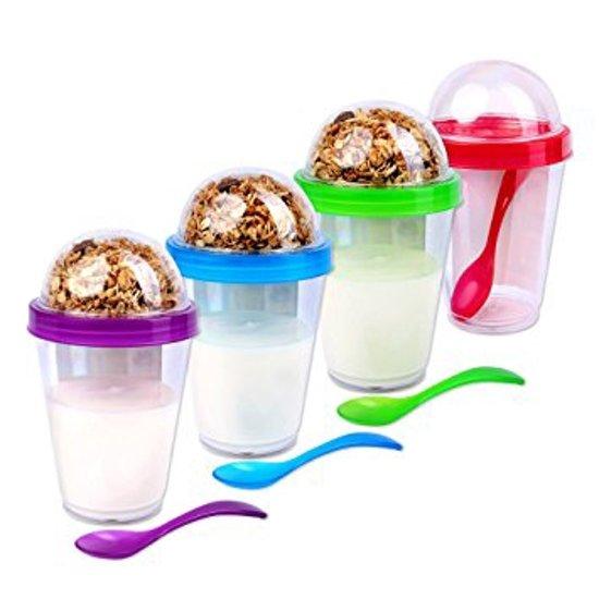 Yoghurt bewaarbeker incl lepel | Muesli beker | Beker met deksel + Lepel | Take-away-cup | Yoghurt 2 go cup | Diversen kleur