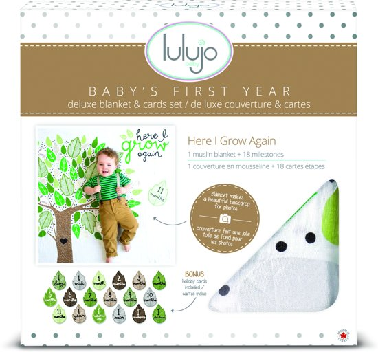 Lulujo Baby's First Year swaddle & cards - Here I grow again