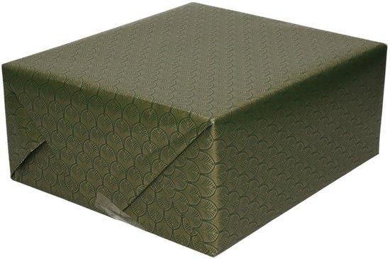 Inpakpapier/cadeaupapier groen/gouden Art Deco print 150 x 70 cm - Cadeauverpakking kadopapier