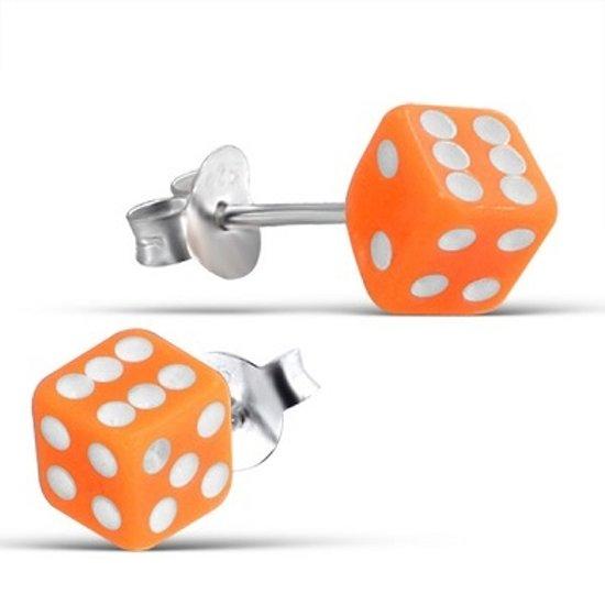Little Bijoux oorknopje-dobbelsteen oranje