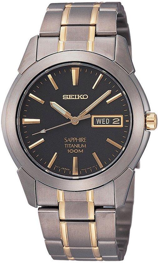 Seiko SGG735P1 horloge heren - zilver en goud - titanium