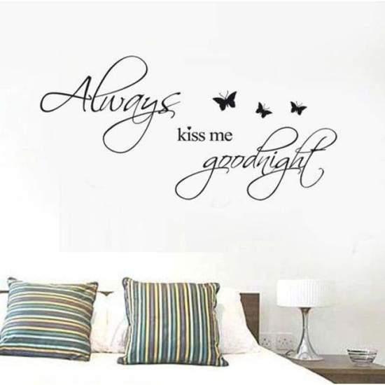 bol.com | Muursticker tekst Kiss me goodnight | slaapkamer ...
