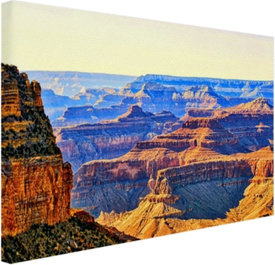 Uitizicht over Grand Canyon Canvas 120x80 cm - Foto print op Canvas schilderij (Wanddecoratie woonkamer / slaapkamer)
