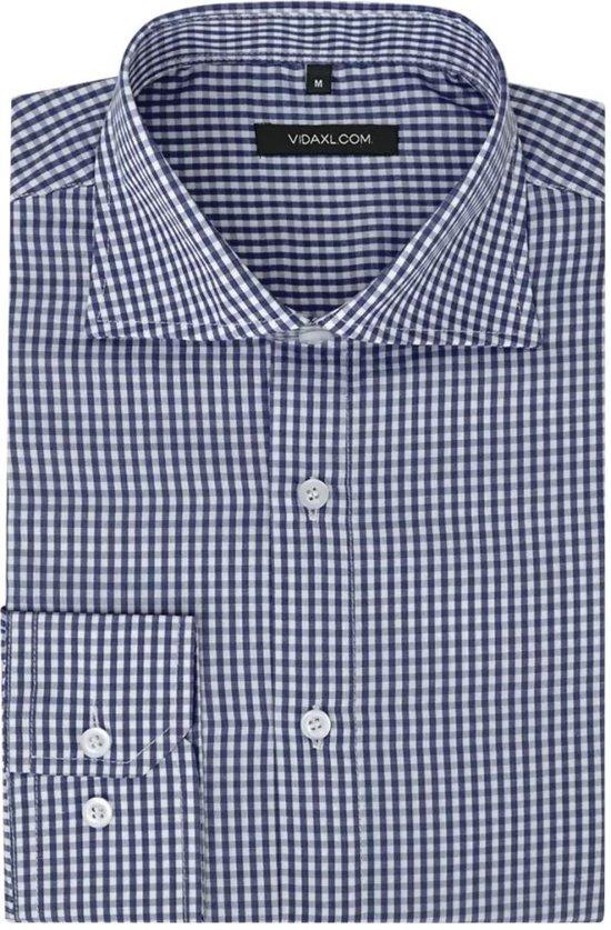 vidaXL Zakelijk overhemd heren wit en marineblauw geblokt maat S
