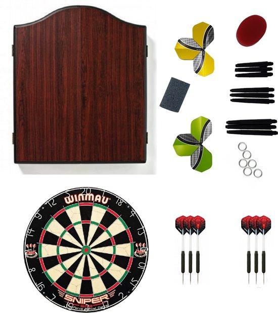Winmau Kabinet Rosewood met dartbord,2 sets dartpijlen en - cadeauset - dartbord - kabinet - dartpijlen