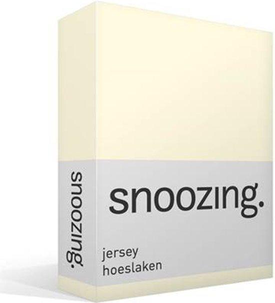 Snoozing Jersey - Hoeslaken - 100% gebreide katoen - 200x210/220 cm - Ivoor