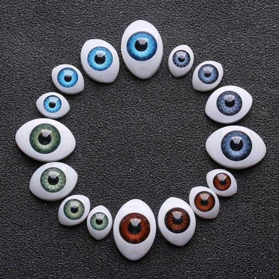 50x Realistische poppenogen | Doll Eyes 14x10mm | Blauw