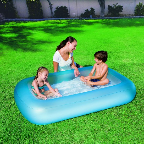 Rechthoekig babybadje opblaasbare bodem - Blauw