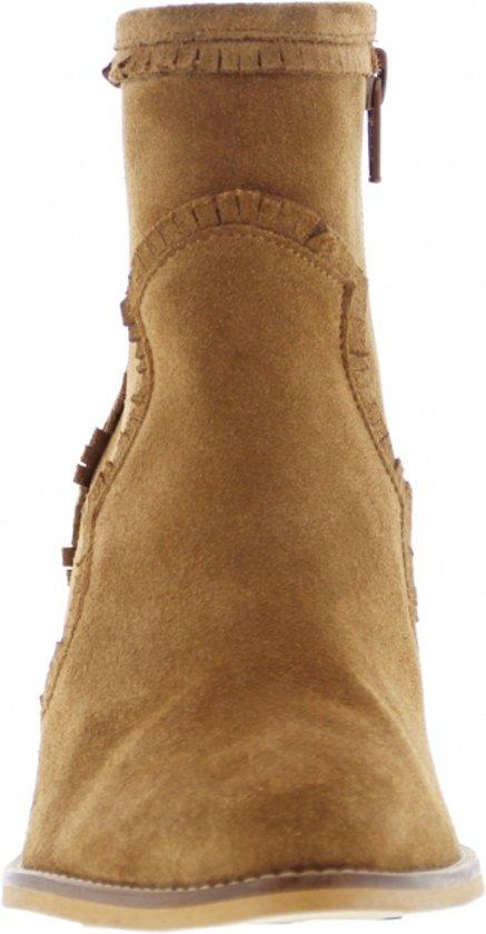 Tango | Ella Western 13-a Cognac Suede Fringe Boot - Wooden Heel/natural Sole Maat: 41