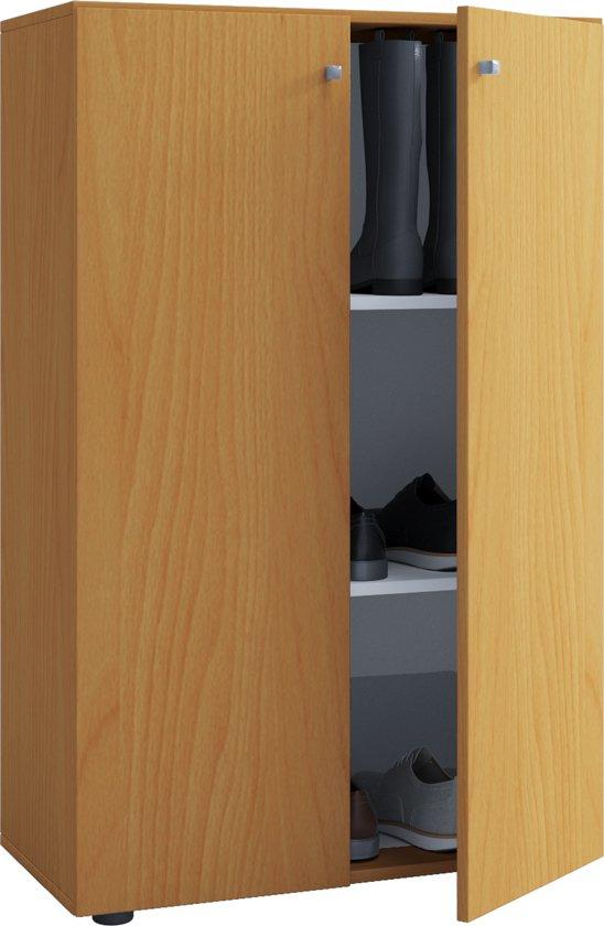 Kledingkast opbergkast ( kinderkamer ) Vandol Lonal Mini 110 cm hoog 3 opbergvakken bruin beuken kleur