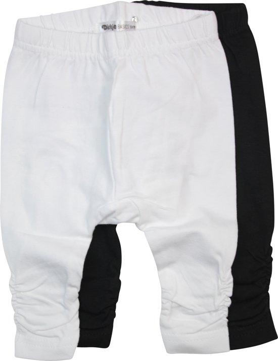 Dirkje Meisjes Legging (2 pk)  - Black + White - Maat 50