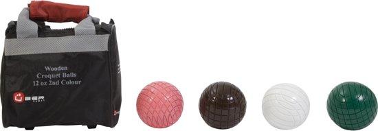 Afbeelding van het spel 4 houten Croquet ballen, 355 gr, netjes in tasje