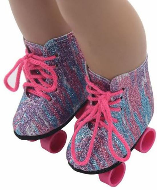 B-Merk Baby Born rolschaatsen, multi colour glitter