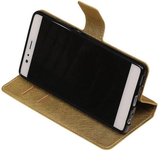 Goud Huawei P9 Plus TPU wallet case booktype hoesje HM Book